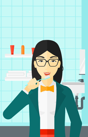 An asian woman brushing her teeth with a toothbrush in bathroom vector flat design illustration. Vertical layout.