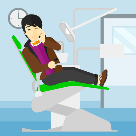 tooth pain: An asian man sitting in chair in dental office and suffering from tooth pain vector flat design illustration. Square layout.