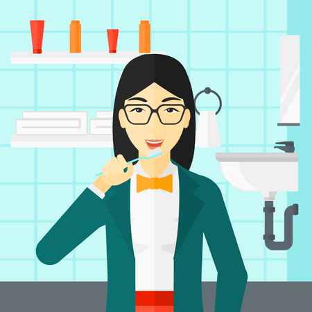 woman hygiene protection: An asian woman brushing her teeth with a toothbrush in bathroom vector flat design illustration. Square layout.