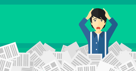 overwork: An asian man clutching his head because of having a lot of work to do with a heap of newspapers in front of him vector flat design illustration isolated on light green background. Horizontal layout.