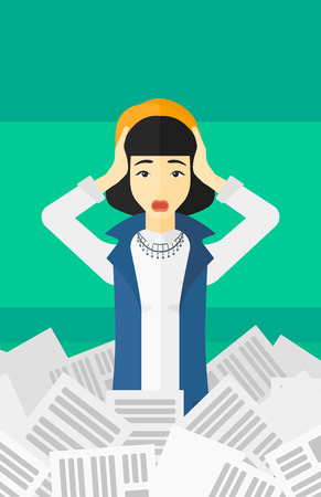 overloaded: An asian stressed woman clutching her head because of having a lot of work to do with a heap of newspapers in front of her vector flat design illustration isolated on light green background. Vertical layout. Illustration