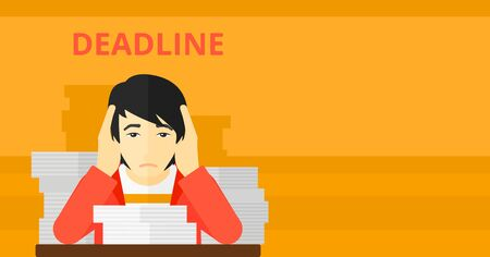 An asian man sitting at the table with stacks of papers and having problem with deadline vector flat design illustration isolated on yellow background. Horizontal layout.