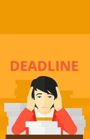 file clerk: An asian man sitting at the table with stacks of papers and having problem with deadline vector flat design illustration isolated on yellow background. Vertical layout.