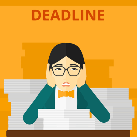 file clerk: An asian scared woman sitting at the table with stacks of papers and having problem with deadline vector flat design illustration isolated on yellow background. Square layout. Illustration
