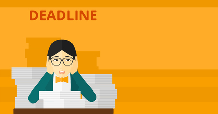 An asian scared woman sitting at the table with stacks of papers and having problem with deadline vector flat design illustration isolated on yellow background. Horizontal layout. Illustration