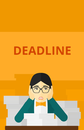 overloaded: An asian scared woman sitting at the table with stacks of papers and having problem with deadline vector flat design illustration isolated on yellow background. Vertical layout.