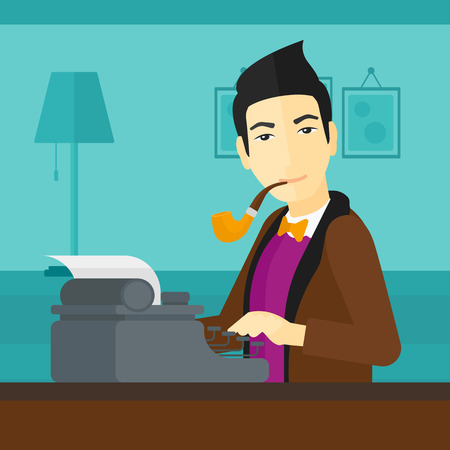 An asian reporter writing an article on typewriter and smoking pipe on the background of room vector flat design illustration. Square layout.