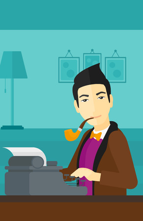 An asian reporter writing an article on typewriter and smoking pipe on the background of room vector flat design illustration. Vertical layout. 向量圖像