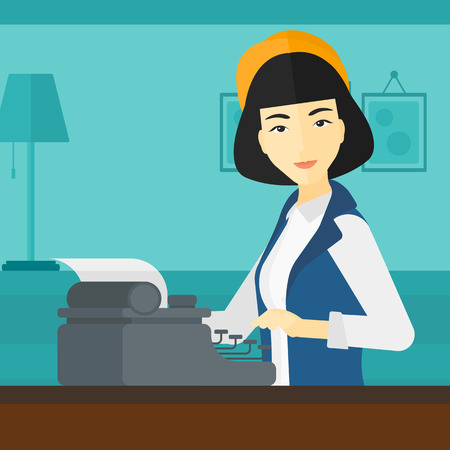 article: An asian reporter writing an article on typewriter on the background of room vector flat design illustration. Square layout. Illustration