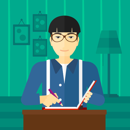 article writing: An asian man sitting at the table and writing an article in writing-pad on the background of room vector flat design illustration. Square layout.