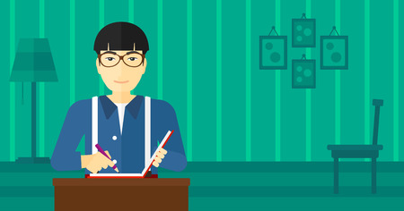 article writing: An asian man sitting at the table and writing an article in writing-pad on the background of room vector flat design illustration. Horizontal layout.
