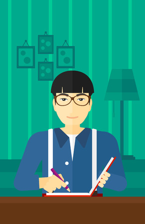 article writing: An asian man sitting at the table and writing an article in writing-pad on the background of room vector flat design illustration. Vertical layout.