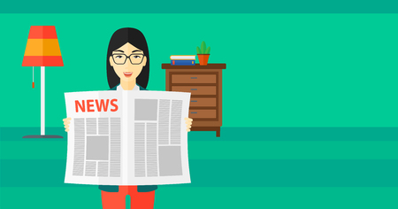 article: An asian reporter reading the newspaper with her article on the backround of room vector flat design illustration. Horizontal layout.