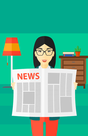 newsman: An asian reporter reading the newspaper with her article on the backround of room vector flat design illustration. Vertical layout.