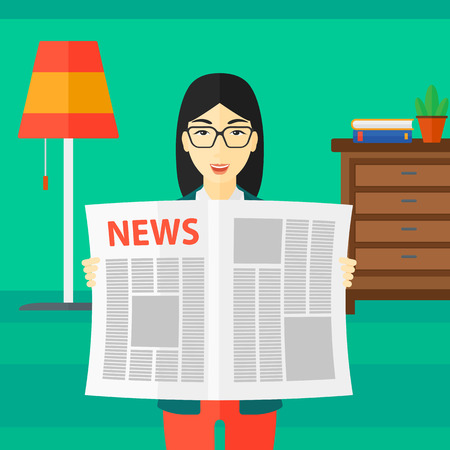 article: An asian reporter reading the newspaper with her article on the backround of room vector flat design illustration. Square layout.