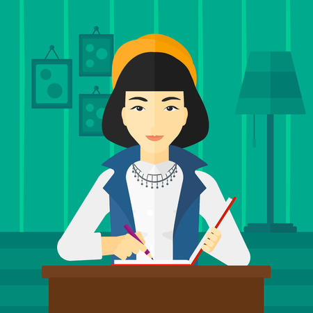 article writing: An asian reporter sitting at the table and writing an article in writing-pad on the background of room vector flat design illustration. Square layout.