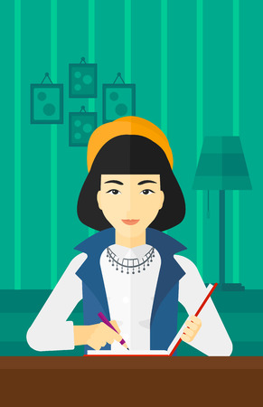 article writing: An asian reporter sitting at the table and writing an article in writing-pad on the background of room vector flat design illustration. Vertical layout.