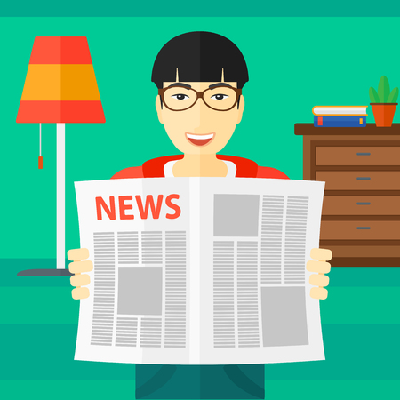 newsman: An asian man reading the newspaper with his article on the backround of room vector flat design illustration. Square layout. Illustration