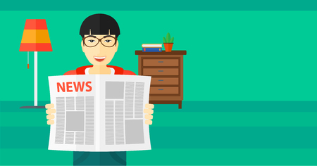 An asian man reading the newspaper with his article on the backround of room vector flat design illustration. Horizontal layout.