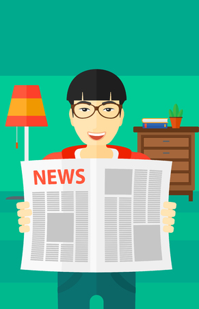 newspaper headline: An asian man reading the newspaper with his article on the backround of room vector flat design illustration. Vertical layout. Illustration