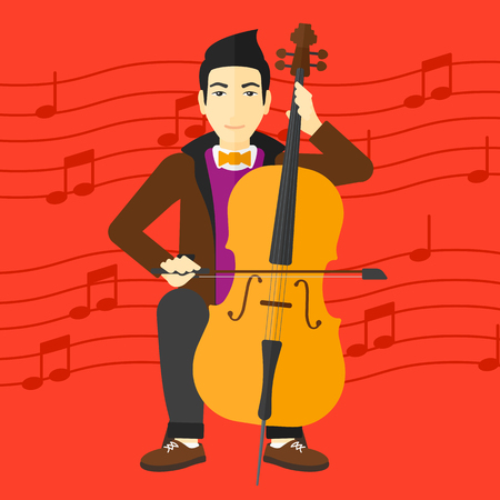 An asian man playing cello on a red background with music notes vector flat design illustration. Square layout. Illustration