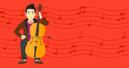An asian man playing cello on a red background with music notes vector flat design illustration. Horizontal layout. Ilustrace