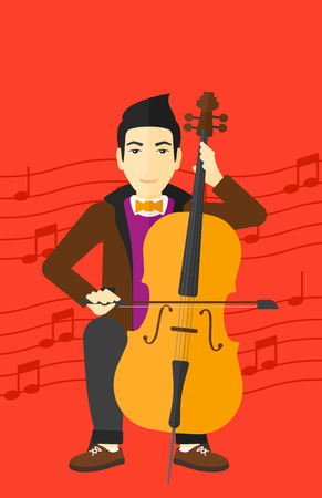 fiddlestick: An asian man playing cello on a red background with music notes vector flat design illustration. Vertical layout.