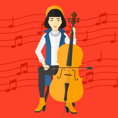 An asian woman playing cello on a red background with music notes vector flat design illustration. Square layout.