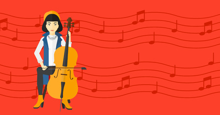 soloist: An asian woman playing cello on a red background with music notes vector flat design illustration. Horizontal layout.