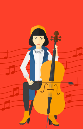 soloist: An asian woman playing cello on a red background with music notes vector flat design illustration. Vertical layout.