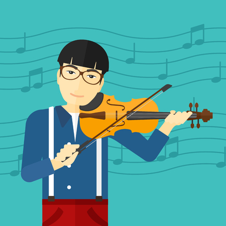 An asian man playing violin on a blue background with music notes vector flat design illustration. Square layout.