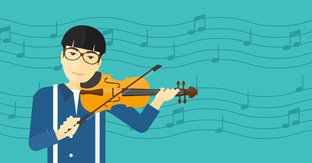 An asian man playing violin on a blue background with music notes vector flat design illustration. Horizontal layout.