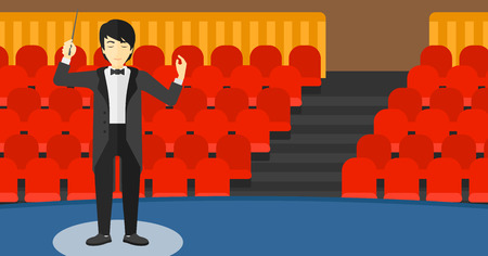 An asian man directing with his baton on the background of concert hall vector flat design illustration. Horizontal layout.
