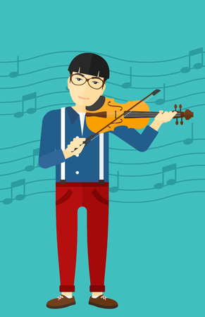 fiddlestick: An asian man playing violin on a blue background with music notes vector flat design illustration. Vertical layout.