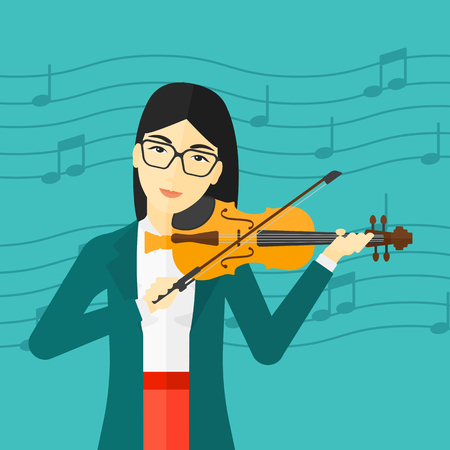 soloist: An asian woman  playing violin on a blue background with music notes vector flat design illustration. Square layout. Illustration