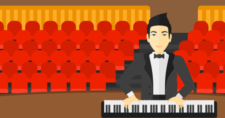 pianoforte: An asian musician playing piano on the background of concert hall vector flat design illustration. Horizontal layout.