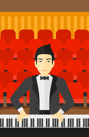 concert hall: An asian musician playing piano on the background of concert hall vector flat design illustration. Vertical layout.