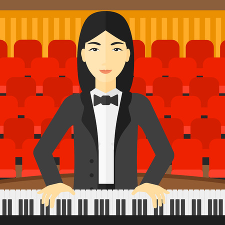 concert hall: An asian musician playing piano on the background of concert hall vector flat design illustration. Square layout.