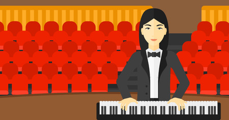 concert hall: An asian musician playing piano on the background of concert hall vector flat design illustration. Horizontal layout.