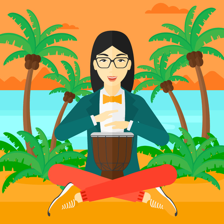An asian woman playing tomtom on the background of tropical beach with palm trees and the sea vector flat design illustration. Square layout. Illusztráció