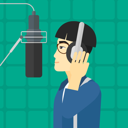 singer microphone: An asian man in headphones making a record of her voice in studio vector flat design illustration. Square layout. Illustration