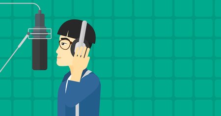 An asian man in headphones making a record of her voice in studio vector flat design illustration. Horizontal layout.
