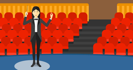 concert hall: An asian orchestra conductor directing with her baton on the background of concert hall vector flat design illustration. Horizontal layout.