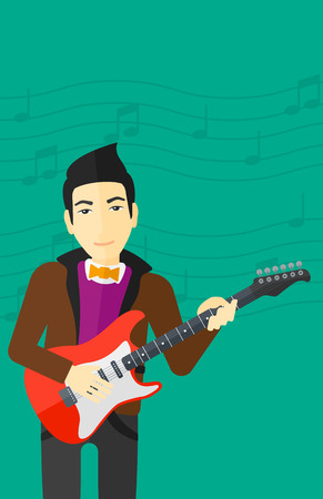 strum: An asian man playing electric guitar on a light green background with music notes vector flat design illustration. Vertical layout.