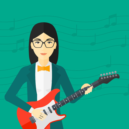 fret: An asian smiling woman playing electric guitar on a light green background with music notes vector flat design illustration. Square layout. Illustration