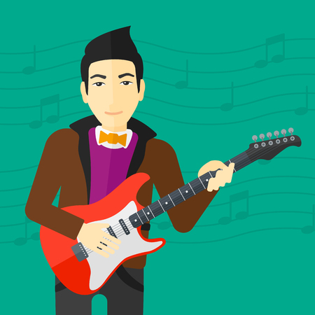 fret: An asian man playing electric guitar on a light green background with music notes vector flat design illustration. Square layout. Illustration