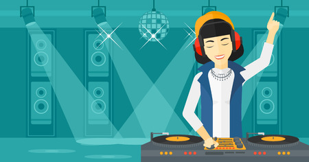 An asian DJ in eadphones with hand up playing music on turntable on the background of night club vector flat design illustration. Horizontal layout. Illustration