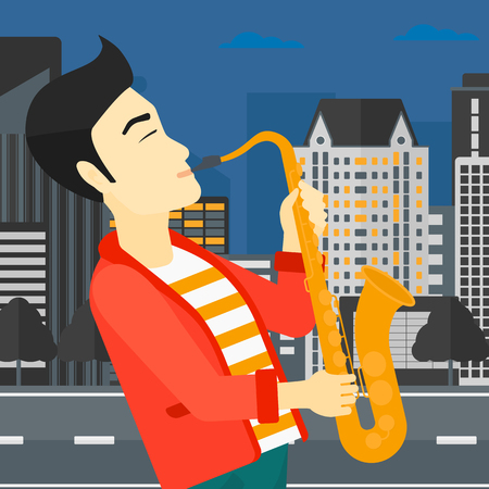 soloist: An asian man playing saxophone on a night city background vector flat design illustration. Square layout. Illustration