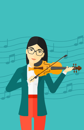 cellist: An asian woman  playing violin on a blue background with music notes vector flat design illustration. Vertical layout.