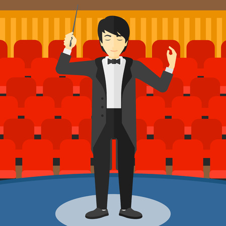 conducting: An asian man directing with his baton on the background of concert hall vector flat design illustration. Square layout.